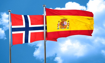 norway flag: norway flag with Spain flag, 3D rendering Stock Photo