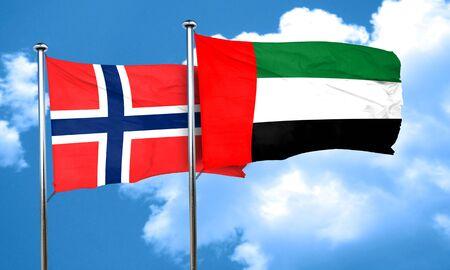 norway flag: norway flag with UAE flag, 3D rendering Stock Photo