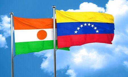 venezuela flag: niger flag with Venezuela flag, 3D rendering