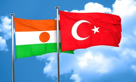 niger: niger flag with Turkey flag, 3D rendering