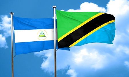 tanzania: nicaragua flag with Tanzania flag, 3D rendering Stock Photo
