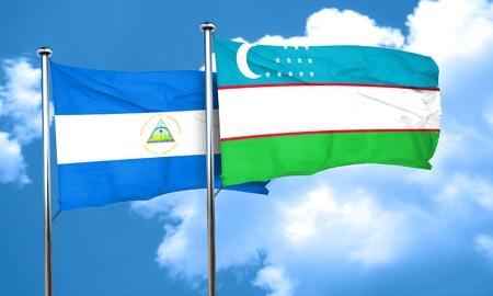 uzbekistan: nicaragua flag with Uzbekistan flag, 3D rendering