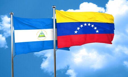 bandera de venezuela: bandera de Nicaragua con la bandera de Venezuela, 3D