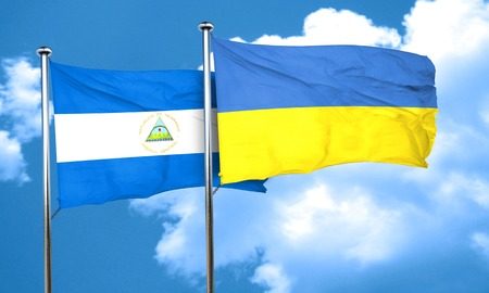 nicaragua: nicaragua flag with Ukraine flag, 3D rendering Stock Photo