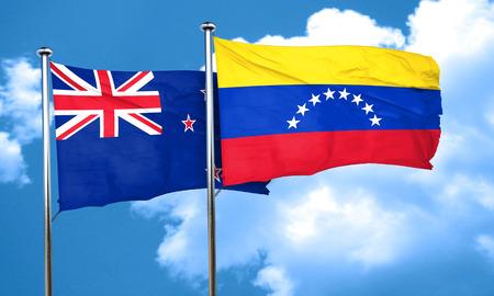 bandera de venezuela: Bandera de Nueva Zelanda con la bandera de Venezuela, 3D