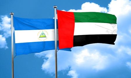 nicaragua: nicaragua flag with UAE flag, 3D rendering