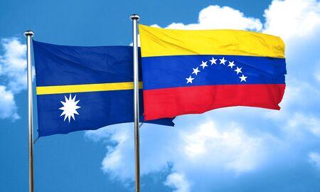 nauru: Nauru flag with Venezuela flag, 3D rendering