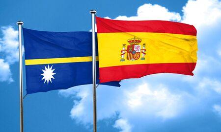 nauru: Nauru flag with Spain flag, 3D rendering