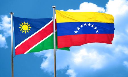 venezuela flag: bandera de Namibia con la bandera de Venezuela, 3D