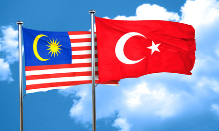 3d turkey: Malaysia flag with Turkey flag, 3D rendering
