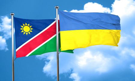 ukraine flag: Namibia flag with Ukraine flag, 3D rendering Stock Photo