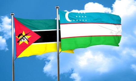 mozambique: Mozambique flag with Uzbekistan flag, 3D rendering Stock Photo
