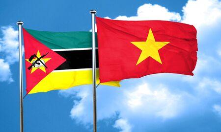 mozambique: Mozambique flag with Vietnam flag, 3D rendering