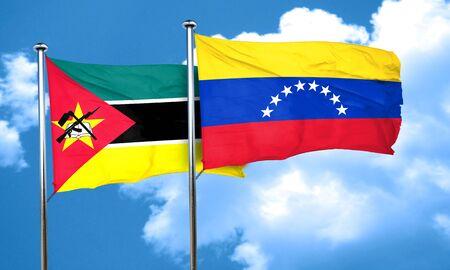 mozambique: Mozambique flag with Venezuela flag, 3D rendering