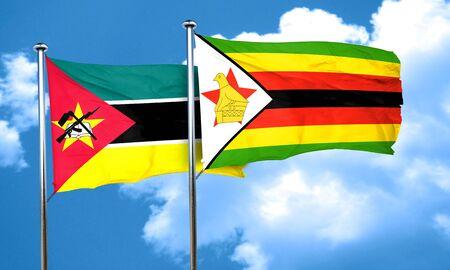 zimbabwe: Mozambique flag with Zimbabwe flag, 3D rendering Foto de archivo