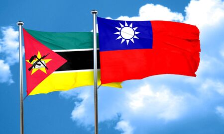 taiwanese: Mozambique flag with Taiwan flag, 3D rendering Stock Photo
