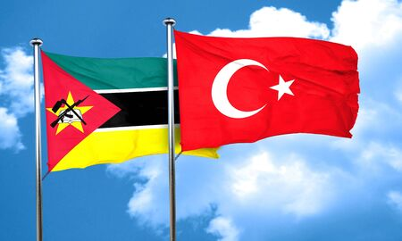3d turkey: Mozambique flag with Turkey flag, 3D rendering Stock Photo