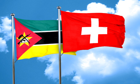 switzerland flag: Mozambique flag with Switzerland flag, 3D rendering