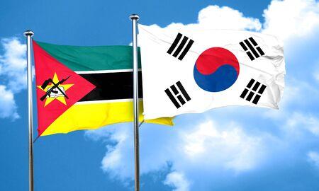 korea flag: Mozambique flag with South Korea flag, 3D rendering Stock Photo