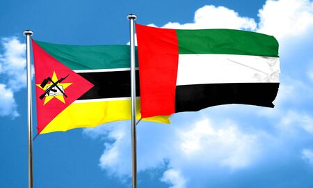 uae: Mozambique flag with UAE flag, 3D rendering