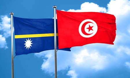 nauru: Nauru flag with Tunisia flag, 3D rendering