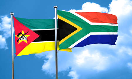 mozambique: Mozambique flag with South Africa flag, 3D rendering