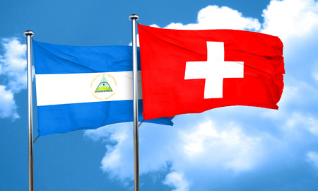 switzerland flag: nicaragua flag with Switzerland flag, 3D rendering Stock Photo