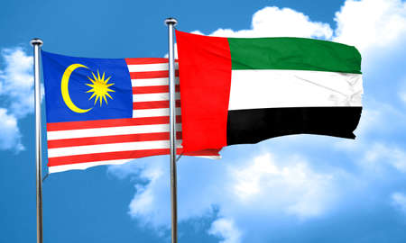 uae: Malaysia flag with UAE flag, 3D rendering