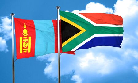 south africa flag: Mongolia flag with South Africa flag, 3D rendering