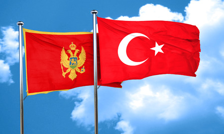 3d turkey: Montenegro flag with Turkey flag, 3D rendering