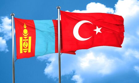 3d turkey: Mongolia flag with Turkey flag, 3D rendering