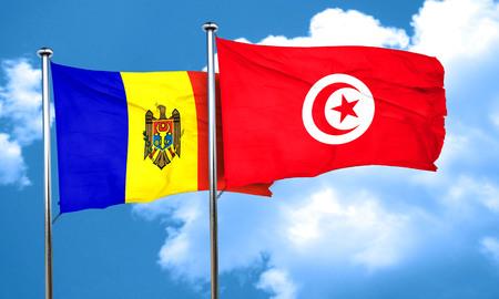 tunisia: Moldova flag with Tunisia flag, 3D rendering