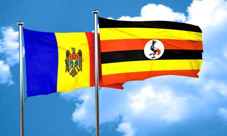moldovan: Moldova flag with Uganda flag, 3D rendering Stock Photo