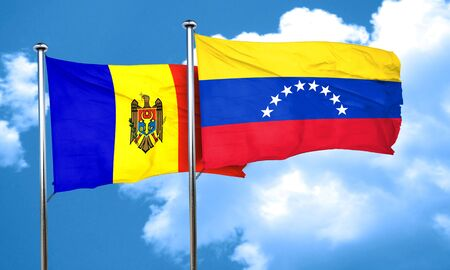moldova: Moldova flag with Venezuela flag, 3D rendering