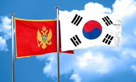 korea flag: Montenegro flag with South Korea flag, 3D rendering