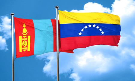 venezuela flag: Bandera de Mongolia, con bandera de Venezuela, 3D