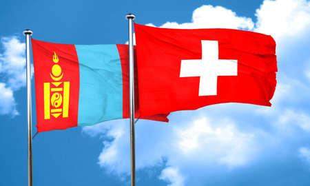 switzerland flag: Mongolia flag with Switzerland flag, 3D rendering