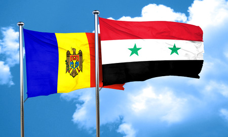 moldovan: Moldova flag with Syria flag, 3D rendering