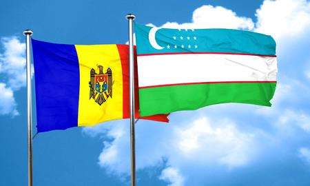 uzbekistan: Moldova flag with Uzbekistan flag, 3D rendering