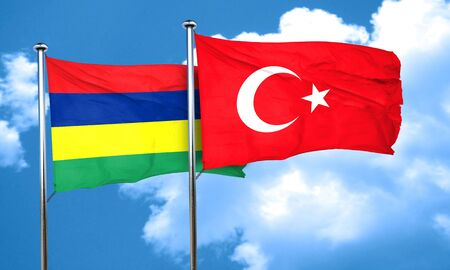 3d turkey: Mauritius flag with Turkey flag, 3D rendering