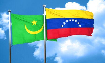 venezuela flag: bandera de Mauritania con la bandera de Venezuela, 3D