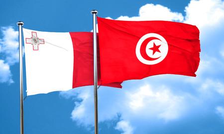 tunisia: Malta flag with Tunisia flag, 3D rendering