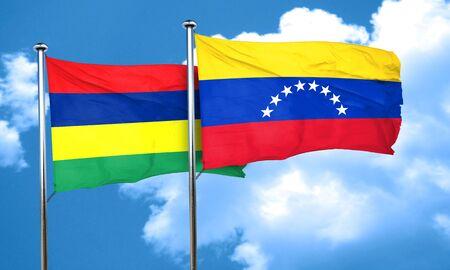 venezuela flag: Mauritius flag with Venezuela flag, 3D rendering