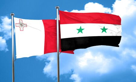 syria: Malta flag with Syria flag, 3D rendering