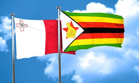 malta flag: Malta flag with Zimbabwe flag, 3D rendering Stock Photo
