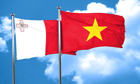 vietnam flag: Malta flag with Vietnam flag, 3D rendering