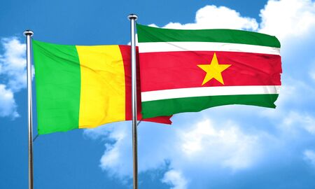 suriname: Mali flag with Suriname flag, 3D rendering