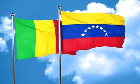 bandera de venezuela: bandera de Malí con la bandera de Venezuela, 3D Foto de archivo