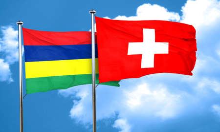 switzerland flag: Mauritius flag with Switzerland flag, 3D rendering