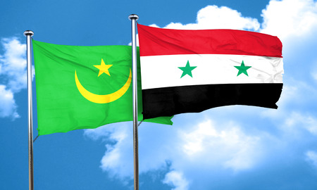 mauritania: Mauritania flag with Syria flag, 3D rendering